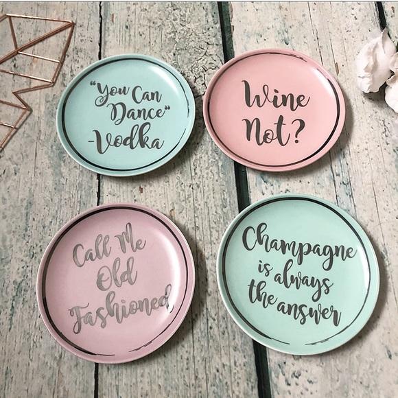 Dessert plates wine champagne pink mint blue drink